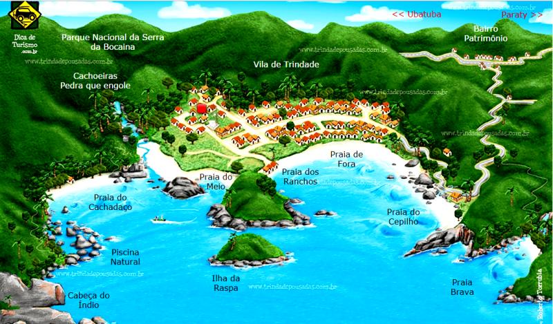 mapa trindade praia - Praias de Trindade: belo par perfeito com Paraty RJ